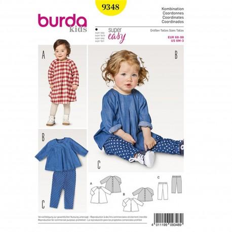 Patron Robe ample – blouse – manches raglan – pantalon – coulisse à élastique Burda N°9348