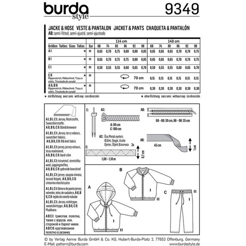 Jacket Burda Sewing Pattern N°9349