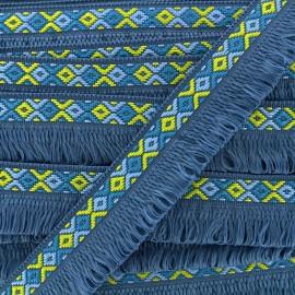 Ibiza fringe trimming ribbon 30mm - blueberry x1m