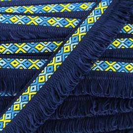 Ruban galon franges Ibiza 30mm - bleu nuit x 1m