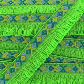 Ibiza fringe trimming ribbon 30mm - green  x1m