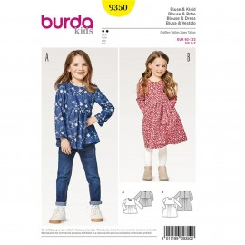 Patron Blouse – robe – taille haute Burda Kids N°9350