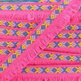 Ibiza fringe trimming ribbon 30mm - neon pink  x1m