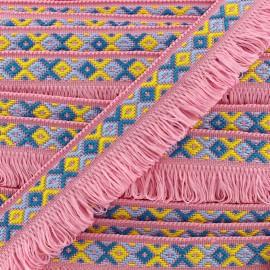 Ibiza fringe trimming ribbon 30mm - pink  x1m