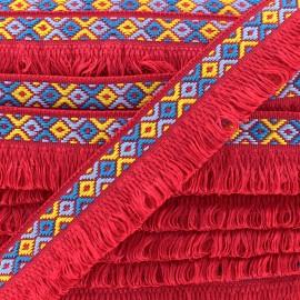 Ibiza fringe trimming ribbon 30mm - red  x1m