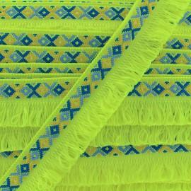Ibiza fringe trimming ribbon 30mm - neon yellow  x1m