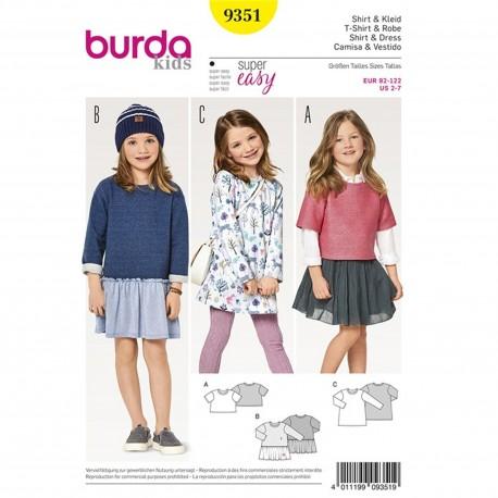 Patron T-shirt – robe – Robe fluide Burda N°9351