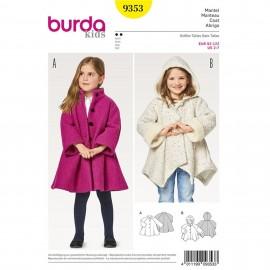Patron Manteau avec ou sans capuche Burda Kids N°9353