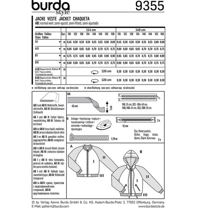 Jacket – Blouson – Hood – Hem Band Burda Sewing Pattern N°9355