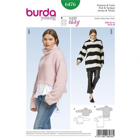 Pullover and Tunic Burda Young Sewing Pattern N°6476