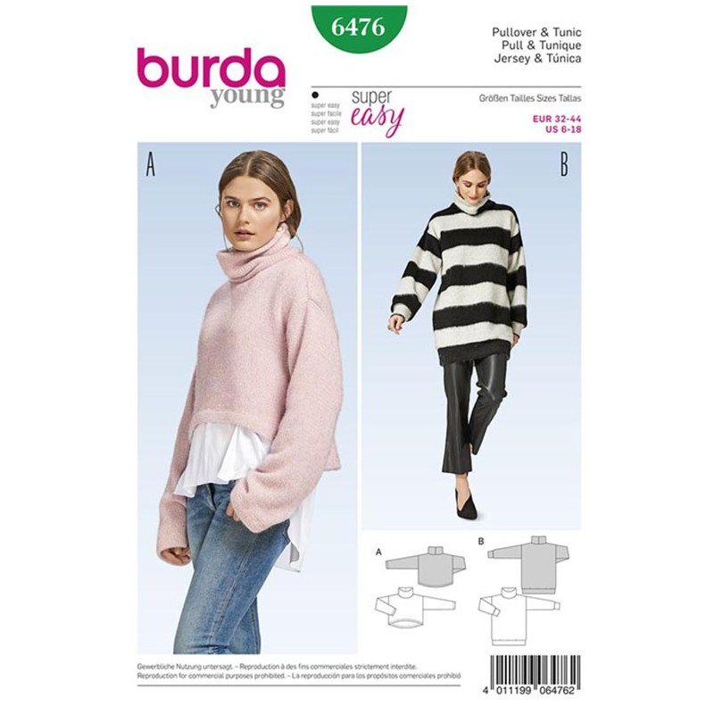Pullover and Tunic Burda Young Sewing Pattern N°6476 - Ma Petite ...