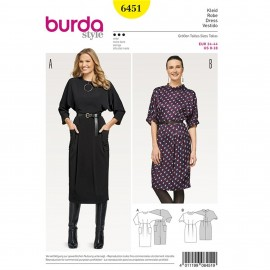 Dress with Integral Sleeves – Back Button Fastening Burda Sewing Pattern N°6451