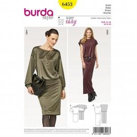 Patron Robe – robe en jersey avec épaules débordantes Burda N°6453