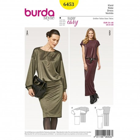 Dress – Jersey Dress – Overcut Shoulders Burda Sewing Pattern N°6453