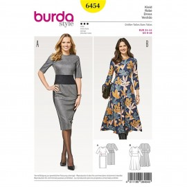 Dress – Hip Band –  Narrow Skirt –  Bell-shaped Skirt  Burda Sewing Pattern N°6454