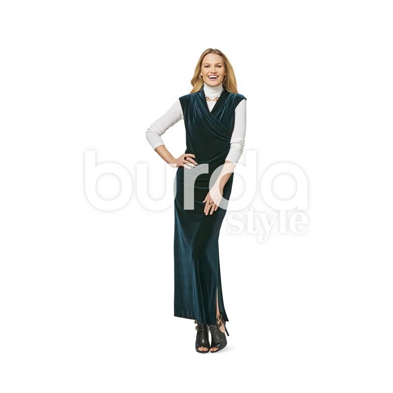 Dress Integral Collar Wrap Look Burda Sewing Pattern N 6455
