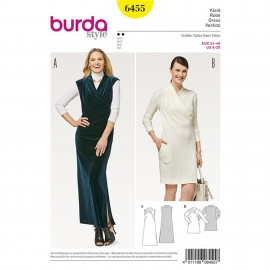 Dress – Integral Collar – Wrap Look Burda Sewing Pattern N°6455