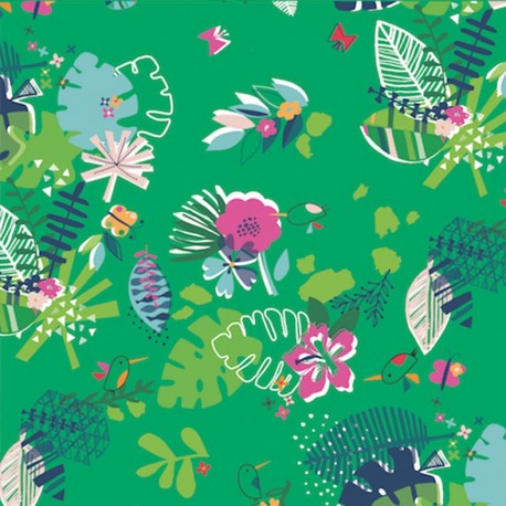 Dashwood cotton fabric Club Tropicana - Verdurous forest x 10cm