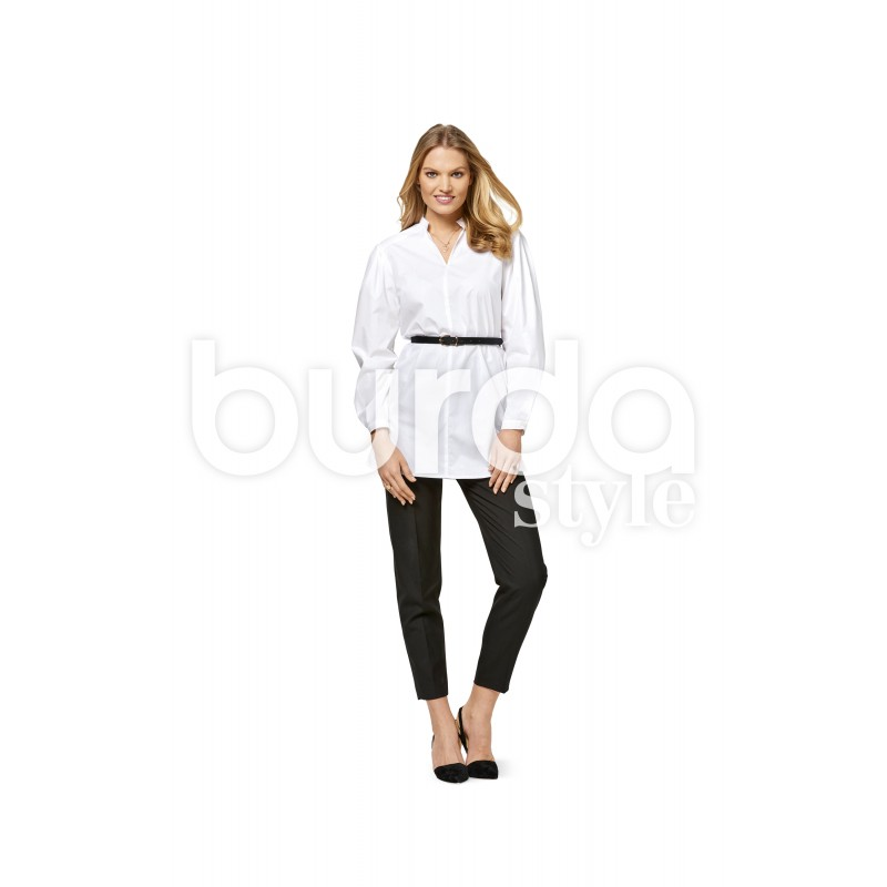 Stand Collar Blouse Designs Images : Blouse shoulder yoke stand collar flounces burda