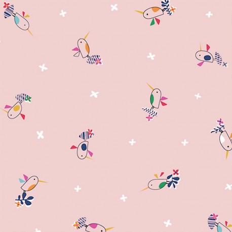 Dashwood cotton fabric Club Tropicana - Baby birds x 10cm
