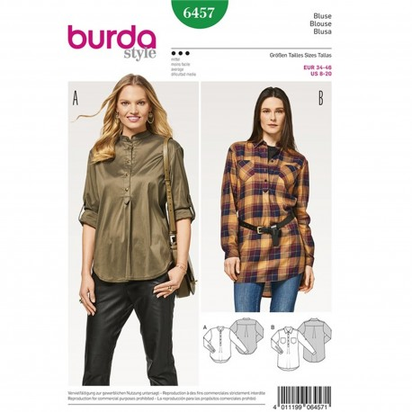Shirt Blouse – Polo Fastening – Front and Back Pleats Burda Sewing Pattern N°6457