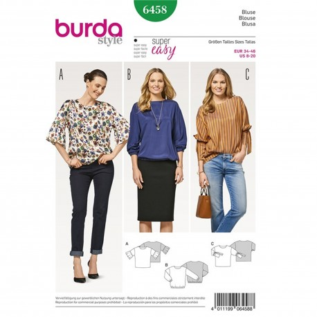 Blouse without Fastening – Overcut Shoulder – Three Sleeve Variations Burda Sewing Pattern N°6458