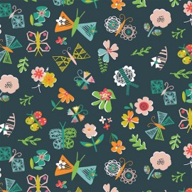 Dashwood cotton fabric Club Tropicana - Butterflies at night x 10cm
