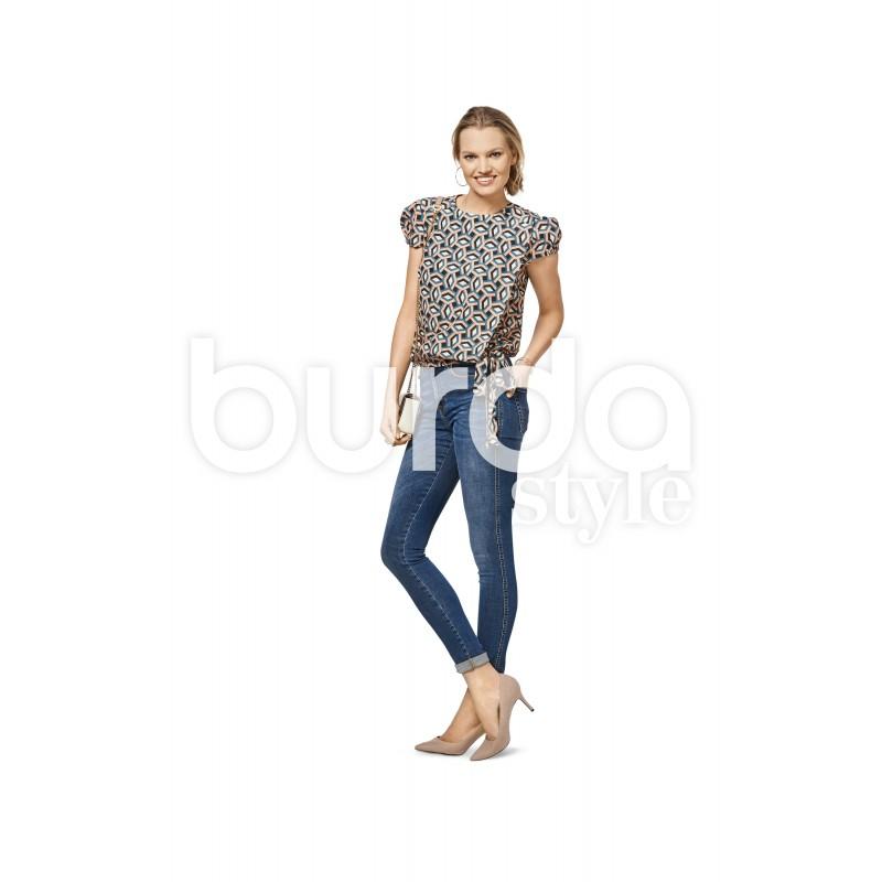 3751c59463d Blouse with Wrap Look – Short Puff Sleeves – Elastic Casing Burda Sewing  Pattern N°6459