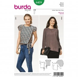 Blouse with Wrap Look – Short Puff Sleeves – Elastic Casing Burda Sewing Pattern N°6459