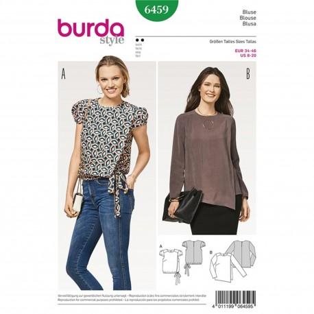 Blouse with Wrap Look – Short Puff Sleeves – Elastic Casing Burda Sewing Pattern N°6459