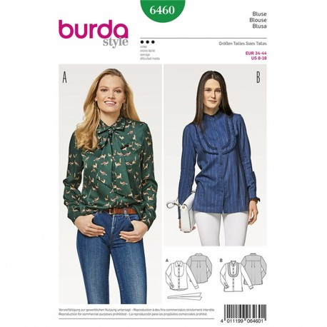 Shirt Blouse with Plastron – Cuffed Sleeves – Stand Collar – Collar with Tie Band Burda Sewing Pattern N°6460
