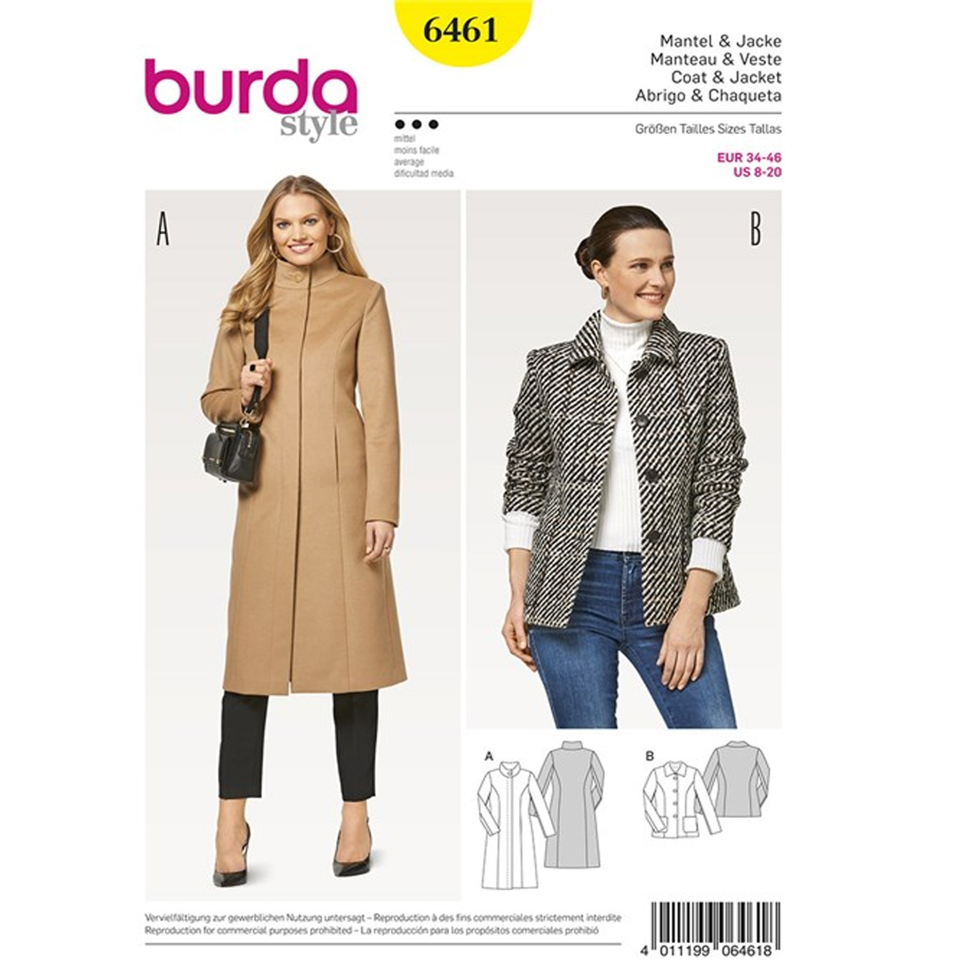0ffa70330 Patron Femme Manteau – veste Burda N°6461