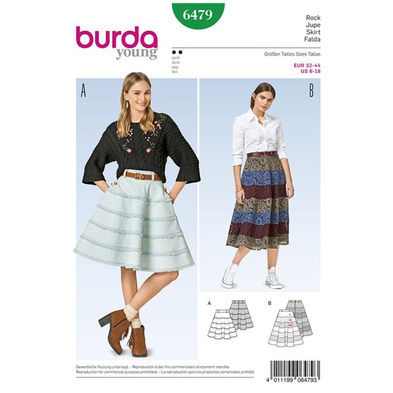 Skirt Burda Young Sewing Pattern N°6479 - Ma Petite Mercerie