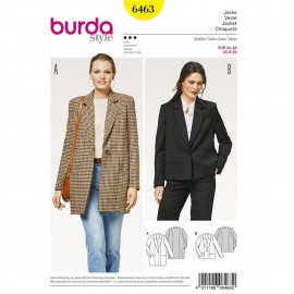 Wide Cut Jacket – Blazer – Long Lapels Burda Sewing Pattern N°6463