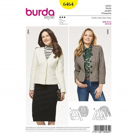 Jacket – Blazer – Peplum – Stand Collar Burda Sewing Pattern N°6464