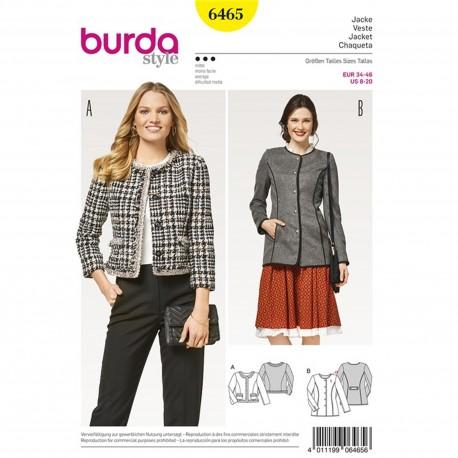 Jacket – Blazer – Parisian Style – No Collar Burda Sewing Pattern N°6465