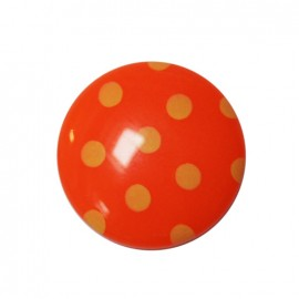 Button with pale yellow polka dots - orange