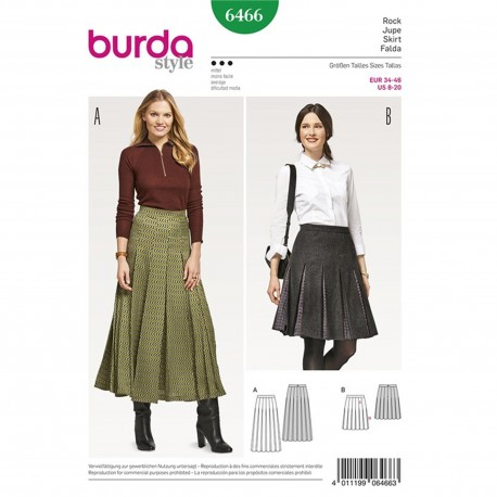 Pleated Skirt with Waistband – Set in Pleat Underlays  Burda Sewing Pattern N°6466