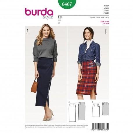Narrow Skirt – High Waist – Side Zip – No Waistband Burda Sewing Pattern N°6467