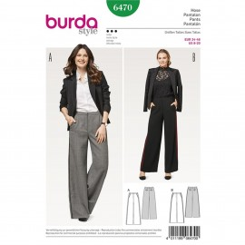 Trousers/Pants with Shaped Waistband – Forward Side Seams – Straight Leg Burda Sewing Pattern N°6470