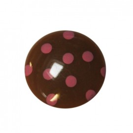 Button with pink polka dots - brown