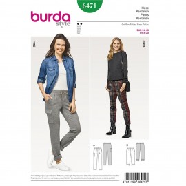 Trousers/Pants with Back Elastic Casing – 3/4 Trousers/Pants with Leg Bands Burda Sewing Pattern N°6471