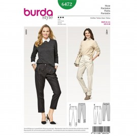 Pleated Trousers/Pants – Back Yoke – Roll-up Tabs – Hem Turn-up Burda Sewing Pattern N°6472