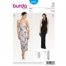 Strapless Dress– Evening Dress with Lace Yoke and Godet Burda Sewing Pattern N°6483
