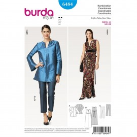 Patron Tunique – robe – robe de soirée – pantalon sans ceinture Burda N°6484
