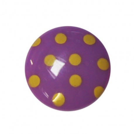 Button with yellow polka dots - mauve