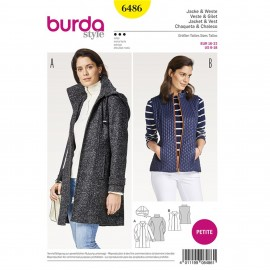 Jacket with Detachable Hood – Waistcoat/Vest –  Short/Petite Sizes  Burda Sewing Pattern N°6486