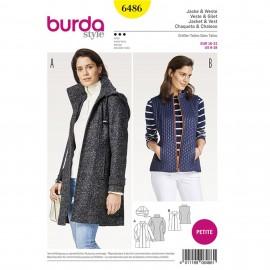 Patron Femme Veste à capuche amovible – gilet –  tailles intermédiaires courtes Burda N°6486