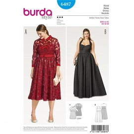 Lace Dress – Evening Dress –  Bustier Dress – Halter Neck Dress Burda Sewing Pattern N°6487