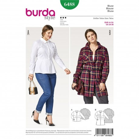 Shirt Blouse – Peplum – Sleeves with Cuffs – Figure Fitting Burda Sewing Pattern N°6488